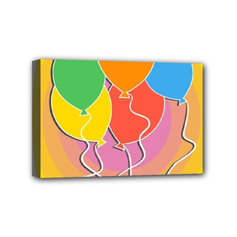 Birthday Party Balloons Colourful Cartoon Illustration Of A Bunch Of Party Balloon Mini Canvas 6  X 4