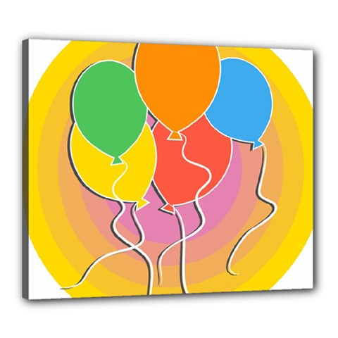 Birthday Party Balloons Colourful Cartoon Illustration Of A Bunch Of Party Balloon Canvas 24  X 20