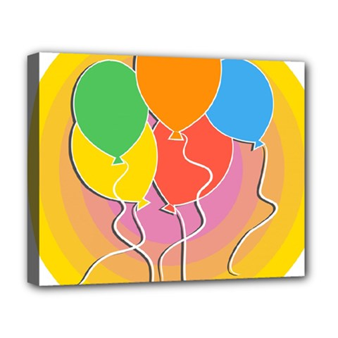Birthday Party Balloons Colourful Cartoon Illustration Of A Bunch Of Party Balloon Deluxe Canvas 20  X 16