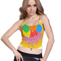 Birthday Party Balloons Colourful Cartoon Illustration Of A Bunch Of Party Balloon Spaghetti Strap Bra Top