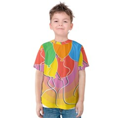 Birthday Party Balloons Colourful Cartoon Illustration Of A Bunch Of Party Balloon Kids  Cotton Tee