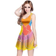 Birthday Party Balloons Colourful Cartoon Illustration Of A Bunch Of Party Balloon Reversible Sleeveless Dress