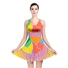 Birthday Party Balloons Colourful Cartoon Illustration Of A Bunch Of Party Balloon Reversible Skater Dress