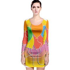 Birthday Party Balloons Colourful Cartoon Illustration Of A Bunch Of Party Balloon Long Sleeve Bodycon Dress