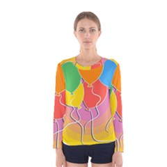 Birthday Party Balloons Colourful Cartoon Illustration Of A Bunch Of Party Balloon Women s Long Sleeve Tee