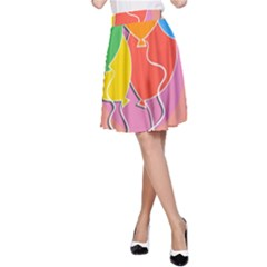 Birthday Party Balloons Colourful Cartoon Illustration Of A Bunch Of Party Balloon A Line Skirt