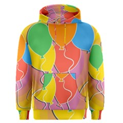 Birthday Party Balloons Colourful Cartoon Illustration Of A Bunch Of Party Balloon Men s Pullover Hoodie