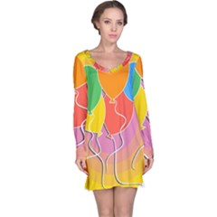 Birthday Party Balloons Colourful Cartoon Illustration Of A Bunch Of Party Balloon Long Sleeve Nightdress