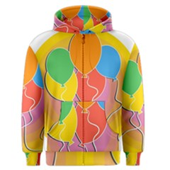 Birthday Party Balloons Colourful Cartoon Illustration Of A Bunch Of Party Balloon Men s Zipper Hoodie