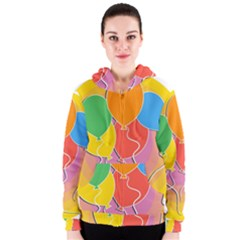 Birthday Party Balloons Colourful Cartoon Illustration Of A Bunch Of Party Balloon Women s Zipper Hoodie