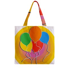 Birthday Party Balloons Colourful Cartoon Illustration Of A Bunch Of Party Balloon Zipper Grocery Tote Bag