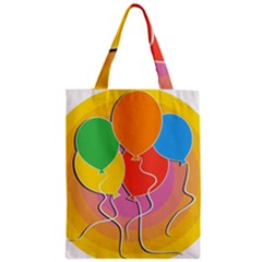 Birthday Party Balloons Colourful Cartoon Illustration Of A Bunch Of Party Balloon Zipper Classic Tote Bag