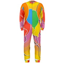 Birthday Party Balloons Colourful Cartoon Illustration Of A Bunch Of Party Balloon Onepiece Jumpsuit (men)