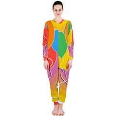 Birthday Party Balloons Colourful Cartoon Illustration Of A Bunch Of Party Balloon OnePiece Jumpsuit (Ladies)