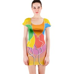 Birthday Party Balloons Colourful Cartoon Illustration Of A Bunch Of Party Balloon Short Sleeve Bodycon Dress