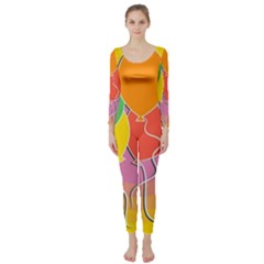 Birthday Party Balloons Colourful Cartoon Illustration Of A Bunch Of Party Balloon Long Sleeve Catsuit