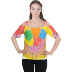 Birthday Party Balloons Colourful Cartoon Illustration Of A Bunch Of Party Balloon Women s Cutout Shoulder Tee