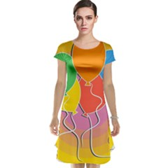 Birthday Party Balloons Colourful Cartoon Illustration Of A Bunch Of Party Balloon Cap Sleeve Nightdress