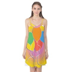 Birthday Party Balloons Colourful Cartoon Illustration Of A Bunch Of Party Balloon Camis Nightgown