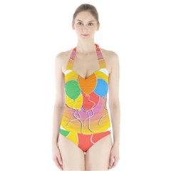 Birthday Party Balloons Colourful Cartoon Illustration Of A Bunch Of Party Balloon Halter Swimsuit