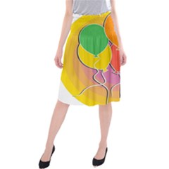 Birthday Party Balloons Colourful Cartoon Illustration Of A Bunch Of Party Balloon Midi Beach Skirt
