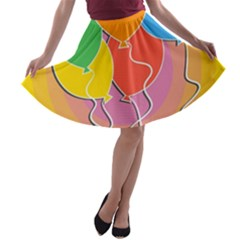 Birthday Party Balloons Colourful Cartoon Illustration Of A Bunch Of Party Balloon A-line Skater Skirt