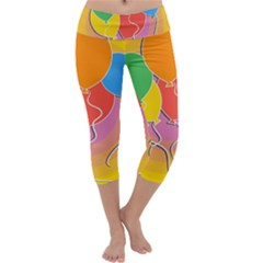 Birthday Party Balloons Colourful Cartoon Illustration Of A Bunch Of Party Balloon Capri Yoga Leggings