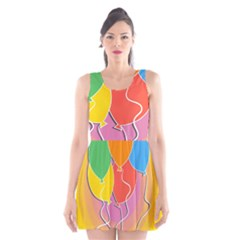 Birthday Party Balloons Colourful Cartoon Illustration Of A Bunch Of Party Balloon Scoop Neck Skater Dress
