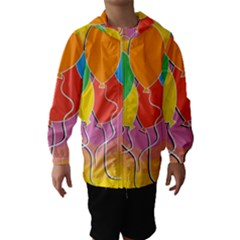 Birthday Party Balloons Colourful Cartoon Illustration Of A Bunch Of Party Balloon Hooded Wind Breaker (Kids)
