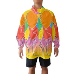 Birthday Party Balloons Colourful Cartoon Illustration Of A Bunch Of Party Balloon Wind Breaker (Kids)