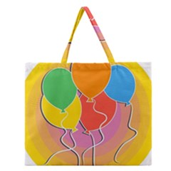 Birthday Party Balloons Colourful Cartoon Illustration Of A Bunch Of Party Balloon Zipper Large Tote Bag