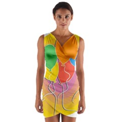 Birthday Party Balloons Colourful Cartoon Illustration Of A Bunch Of Party Balloon Wrap Front Bodycon Dress