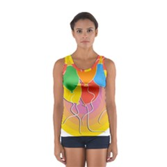Birthday Party Balloons Colourful Cartoon Illustration Of A Bunch Of Party Balloon Women s Sport Tank Top