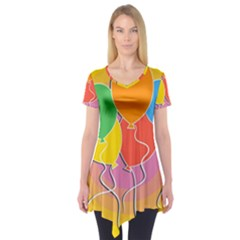 Birthday Party Balloons Colourful Cartoon Illustration Of A Bunch Of Party Balloon Short Sleeve Tunic