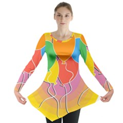 Birthday Party Balloons Colourful Cartoon Illustration Of A Bunch Of Party Balloon Long Sleeve Tunic