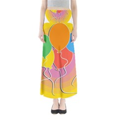 Birthday Party Balloons Colourful Cartoon Illustration Of A Bunch Of Party Balloon Maxi Skirts