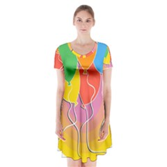 Birthday Party Balloons Colourful Cartoon Illustration Of A Bunch Of Party Balloon Short Sleeve V-neck Flare Dress