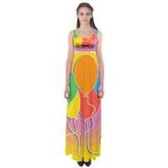 Birthday Party Balloons Colourful Cartoon Illustration Of A Bunch Of Party Balloon Empire Waist Maxi Dress