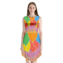 Birthday Party Balloons Colourful Cartoon Illustration Of A Bunch Of Party Balloon Sleeveless Chiffon Dress