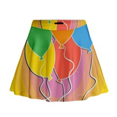 Birthday Party Balloons Colourful Cartoon Illustration Of A Bunch Of Party Balloon Mini Flare Skirt