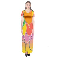 Birthday Party Balloons Colourful Cartoon Illustration Of A Bunch Of Party Balloon Short Sleeve Maxi Dress
