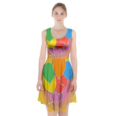 Birthday Party Balloons Colourful Cartoon Illustration Of A Bunch Of Party Balloon Racerback Midi Dress