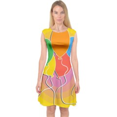 Birthday Party Balloons Colourful Cartoon Illustration Of A Bunch Of Party Balloon Capsleeve Midi Dress
