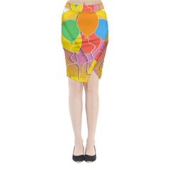 Birthday Party Balloons Colourful Cartoon Illustration Of A Bunch Of Party Balloon Midi Wrap Pencil Skirt