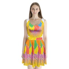 Birthday Party Balloons Colourful Cartoon Illustration Of A Bunch Of Party Balloon Split Back Mini Dress