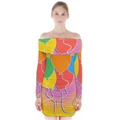Birthday Party Balloons Colourful Cartoon Illustration Of A Bunch Of Party Balloon Long Sleeve Off Shoulder Dress