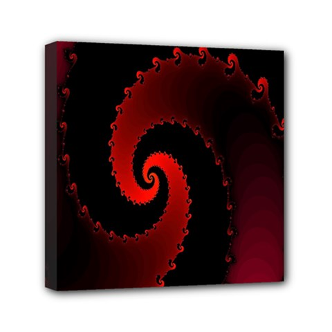 Red Fractal Spiral Mini Canvas 6  x 6