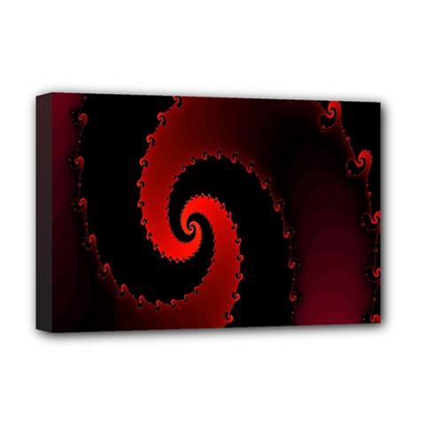 Red Fractal Spiral Deluxe Canvas 18  x 12