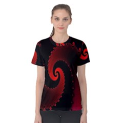 Red Fractal Spiral Women s Cotton Tee