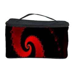 Red Fractal Spiral Cosmetic Storage Case